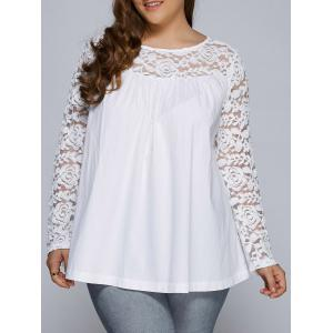 Plus Size Lace Splicing Long Sleeve Blouse - White - 3xl