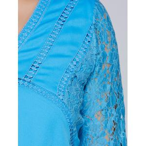 Lacework Splicing Hollow Out Plus Size Blouse -