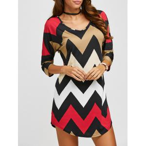 3/4 Sleeves Zig Zag Print T-Shirt - Red - S