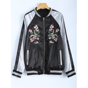 Color Block Flower Embroidery Fall Bomber Jacket - Black - L