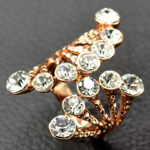 Rhinestone Octopus Shape Cuff Ring - WHITE 19