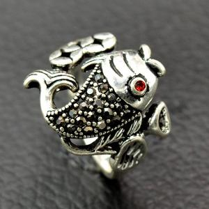 Vintage Fish Animal Embossed Ring -