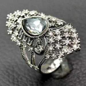 Retro Artificial Crystal Rhinestone Hollow Out Ring -