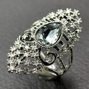 Retro Artificial Crystal Rhinestone Hollow Out Ring - SILVER 19