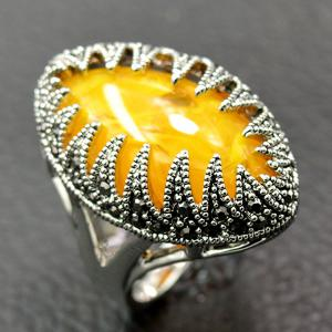 Oval Faux Gem Zirconia Ring - YELLOW 18