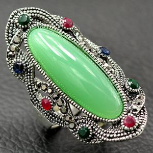 Embossed Rhinestone Faux Gem Statement Ring - LIGHT GREEN 18