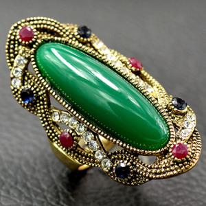 Embossed Rhinestone Faux Gem Statement Ring