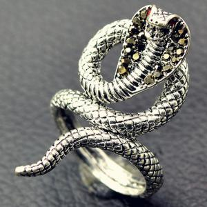 Vintage Twine Snake Embossed Open Ring - SILVER 17