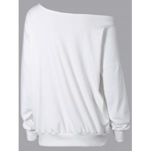 Cross Print Skew Neck Sweatshirt - WHITE ONE SIZE