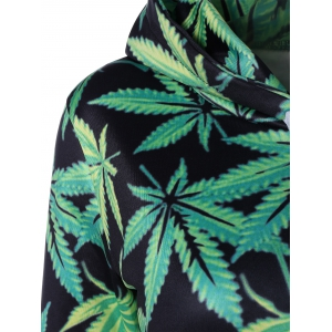 Casual Drawstring 3D Leaves Printed Hooded Dress - GREEN L