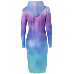 Tree Printed Ombre Hooded Sweatshirt Dress - LAKE BLUE L