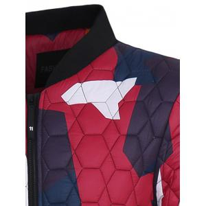 Stand Collar Color Block Geometric Pattern Jacket -