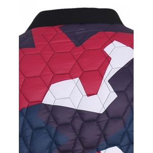 Stand Collar Color Block Geometric Pattern Jacket - COLORMIX 4XL