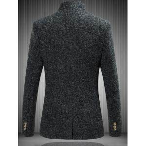 Mandarin Collar Single Breasted Heather Jacket - BLACK 3XL