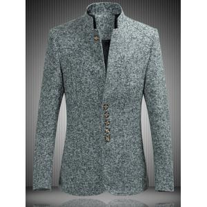 Mandarin Collar Single Breasted Heather Jacket - Gray - Xl