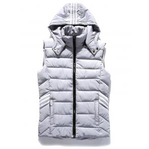 Stripe Zip Up Hooded Vest - Light Gray - S