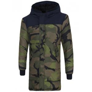 Zip Up Spliced Hooded Padded Camo Coat - Camouflage Color - Xl