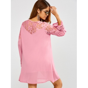 Lace Long Sleeve Short Tunic Dress with Sleeves - PINK XL