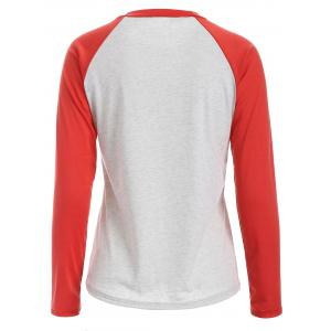 Christmas Letter Print Raglan Sleeves Baseball Tee - JACINTH 3XL