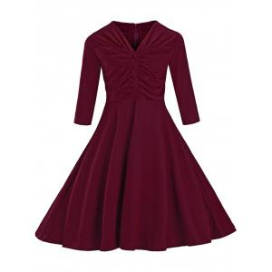 Ruched Slim Fit Swing Dress - Wine Red - M