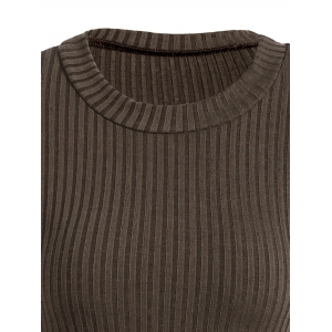 Slit Ribbed Maxi Long Sleeve Winter Sweater Dress - COFFEE XL