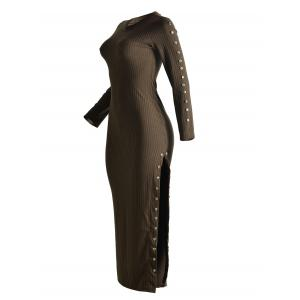 Beaded Fitted Long Sleeve Maxi Jumper Dress - COFFEE XL