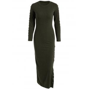 Slit Ribbed Maxi Long Sleeve Winter Sweater Dress