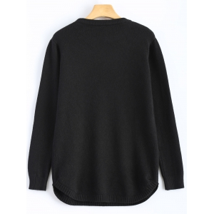 Girl Graphic Crew Neck Sweater - BLACK ONE SIZE