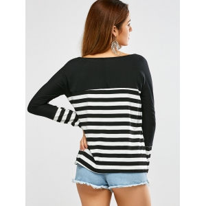 Boat Neck Long Sleeve Striped Tee - WHITE AND BLACK M