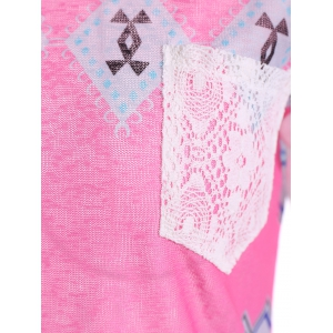 Tribal Print Long Sleeve Pocket Tee - ROSE + WHITE XL