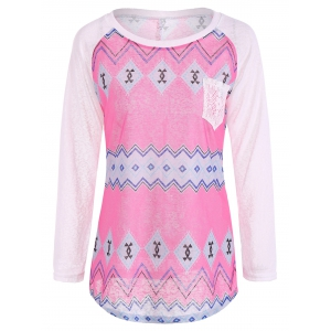 Tribal Print Long Sleeve Pocket Tee - Rose + White - S