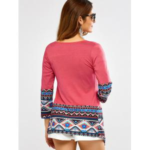 Open Front Printed Draped Blouse -