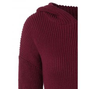 Longline Hooded Chunky Sweater - WINE RED 2XL