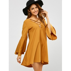 V Neck Reversible Flare Sleeve Lace Up Mini Dress - YELLOW XL