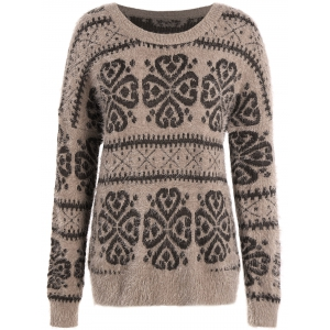 Crew Neck Fuzzy Tribal Sweater