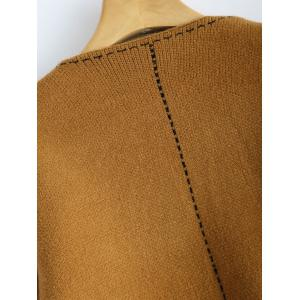 Contrast Stitching Cropped Cardigan - CAMEL ONE SIZE