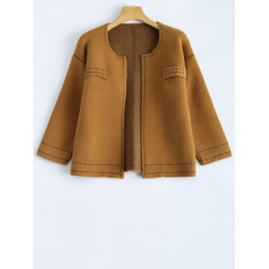 Contrast Stitching Cropped Cardigan