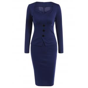 Long Sleeve Sheath Midi Office Work Dress
