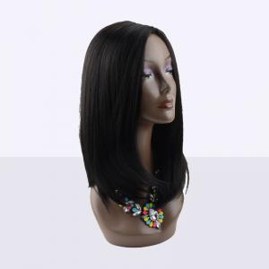 Kanekalon Long Middle Parting Straight Synthetic Wig - BLACK