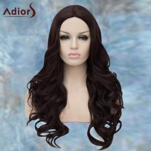 Adiors Long Middle Parting Wavy Synthetic Wig - PURPLISH RED