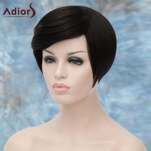 Adiors Short Spiffy Oblique Bang Straight Synthetic Wig -