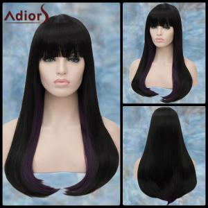 Adiors Long Full Bang Straight Synthetic Wig - Black Purple