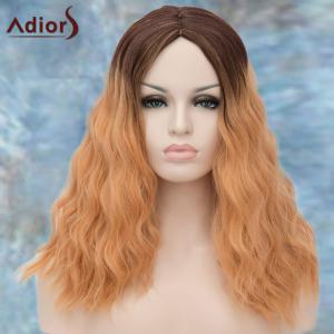 Adiors Long Middle Parting Shaggy Wavy Ombre Synthetic Wig - COLORMIX