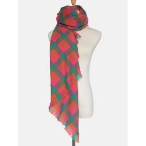 Outdoor Plaid Pattern Fringed Shawl Scarf -