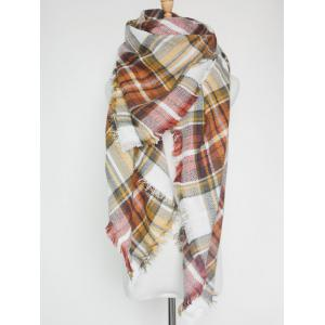 Outdoor Plaid Print Fringed Square Blanket Shawl Scarf - Dark Khaki