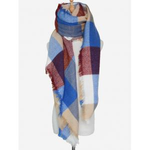 Outdoor Big Plaid Pattern Fringed Square Scarf - ROYAL BLUE