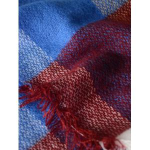 Outdoor Big Plaid Pattern Fringed Square Scarf -