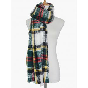 Winter Plaid Print Woven Fringed Scarf -