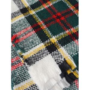 Winter Plaid Print Woven Fringed Scarf - BLACKISH GREEN