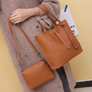Crossbody Bag and Tassels Tote - Light Brown